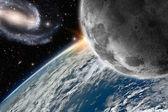 Ziemia i księżyc — Zdjęcie stockowe