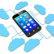 Smartphone connected to cloud server. — Stock Photo