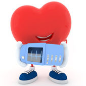 Heart with electrocardiogram device — Stock Photo