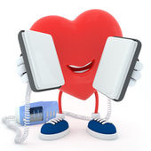 Heart with defibrillator — Stock Photo