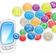 Stock Photo: Smartphone with cloud of application icons