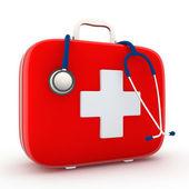听诊器和急救工具包 — 图库照片