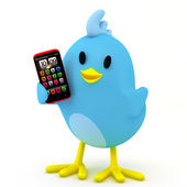 маленькая птица с смартфон — Стоковое фото