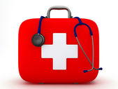 Stethoscope and First Aid Kit — Foto de Stock