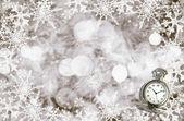 Christmas card with antique clock — ストック写真