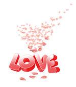 Pétalos de rosa-corazón y el amor — Foto de Stock