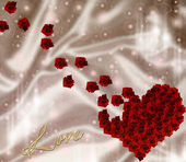 Roses and Hearts background — Stock Photo