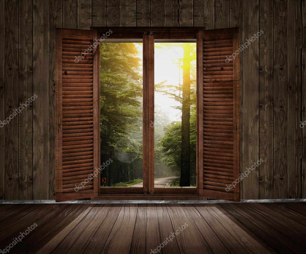 Wooden room with a window overlook the garden — Stock Photo #15422991