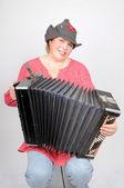 Woman with accordion — Stock Photo