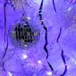 Beautiful mirror ball on Christmas tree — Stok Fotoğraf #13542132