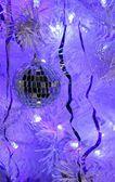 Beautiful mirror ball on a Christmas tree — Stock Photo