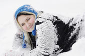 Women on snow — Stock Photo