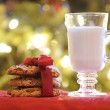 Cup of milk with cookies for Santa - Stock Photo