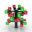 Stock Photo: 3d tree with percents and dollars