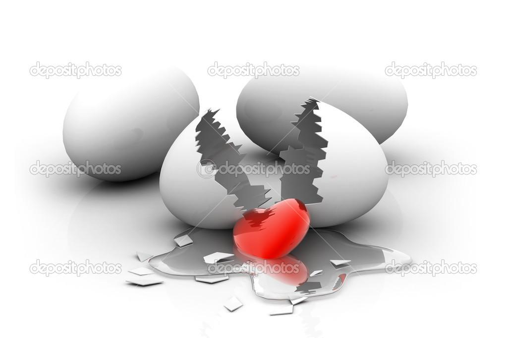 红色的心从破蛋的数字例证 — 照片作者 rbhavana