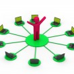 Computer network. communicating data — Stock Photo #18665483