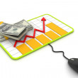 Financial Planning. Graph with a mouse and dollar banknotes. — Stock Photo #19108413