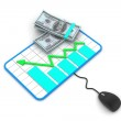 Financial Planning. Graph with a mouse and dollar banknotes. — Stock Photo #19108443