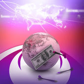 Dollar over the world with darts — Stock Photo