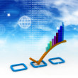 3d Business graph in abstract background - 