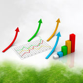 Graph showing rise in profits or earnings — Stock Photo