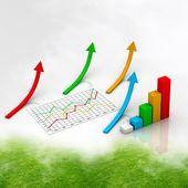 Diagram som visar ökning av vinster eller inkomster — Stockfoto