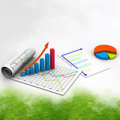 Business graph with chart in abstract background — Stock Photo