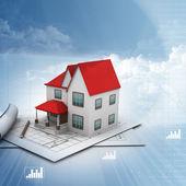 Bir plan üzerinde ev modeli — Stok fotoğraf
