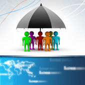 Team standing with a black umbrella — Stock Photo