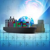 Ilustración digital del concepto de transporte de carga mundial — Foto de Stock