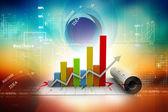 3d business tillväxt diagram i digital bakgrund — Stockfoto