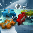Jigsaw puzzle showing business content - 