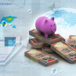 Piggy bank and currency in digital design - 