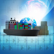Digital illustration of  World cargo transport concept - 