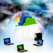 Digital illustration of Cloud computing devices - 