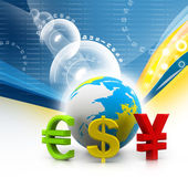 Globe with currency symbols in abstract background — Stock Photo