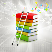 Colorful books and ladder — Stock Photo