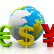 Globe with currency symbols	 — Stock Photo