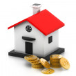 Money box house with dollar coins — Stock Photo