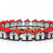 Houses circle.(home choice concept) — Stock Photo