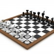 Chess board with figures in white background — Stock Photo