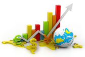 3d illustration of render world business graph — Stock Photo
