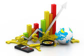 Analyzing World business graph — Stock Photo