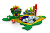 Financial Analysis with graphs and data in brazil — Stock Photo