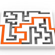 Maze puzzle solved — Stock Photo
