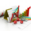 Business graph and chart in folder — Stock Photo