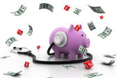 Piggy bank with stethoscope — Foto Stock