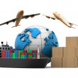 3d World cargo transport concept	 — Stock Photo