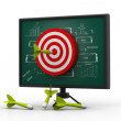 Target dart on business strategy board	 — Stock Photo