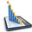Digital tablet with rising chart — Stock Photo